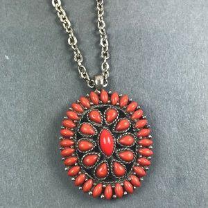 Vintage Southwest Faux Coral Silver Necklace